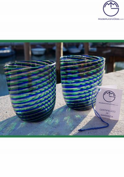 Set Di 2 Bicchieri Vetro Murano In Canna Blue E Avventurina
