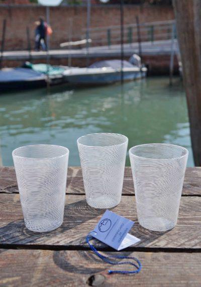 Set Of 3 Murano Drinking Glasses With Filigrana – Murano Art