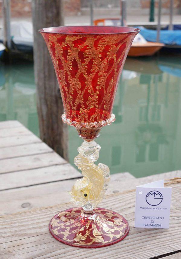 Calice Rosso Murano Vetro Artistico Con Oro 24kt