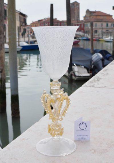 "Exclusive Venetian Glass Goblet In ""FILIGRANA"" And Gold – Murano Art"