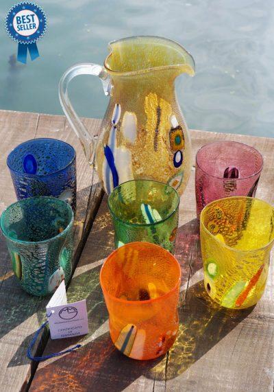 Set Di 6 Bicchieri + Brocca In Vetro Murano – Goti De Fornasa