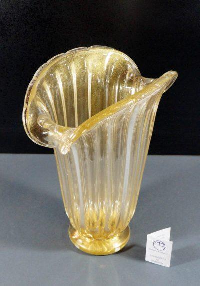 Venetian Glass Vase All Gold 24kt – Murano Art Glass – Murano Collection