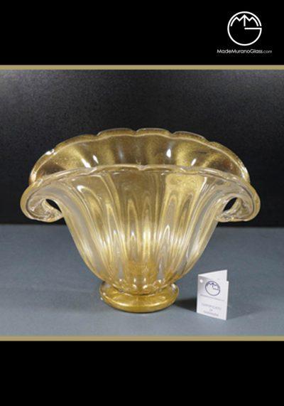 Murano Glass Bowl All Gold 24 Carats – Venetian Glass Vase – Murano Art