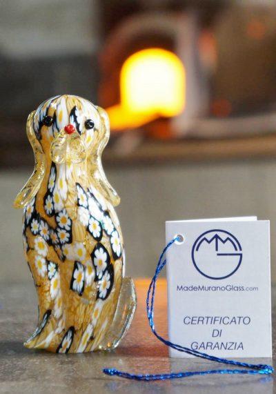 Murano Glass Animals Dog With Murrina And Gold – Murano Art –