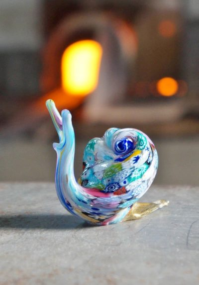 Murano Glass Animals Snail With Murrina And Gold – Murano Collection
