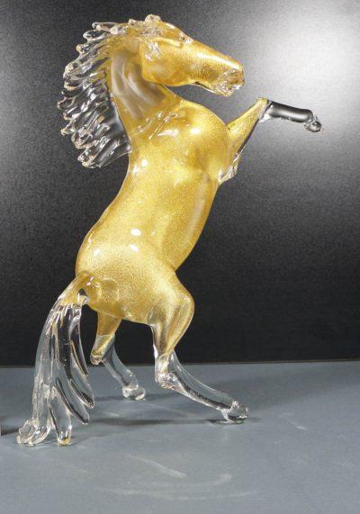 Murano Glass Animals – Golden Horse – Murano Art