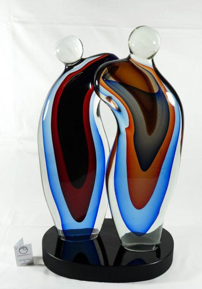 Murano Glass Abstract Lovers Sculpture – Alberto Donà Master