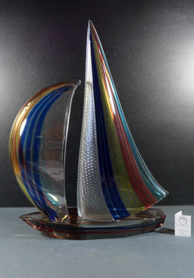 Sculpture Murano Glass Sailboat With Engraved – Venetian Glass –