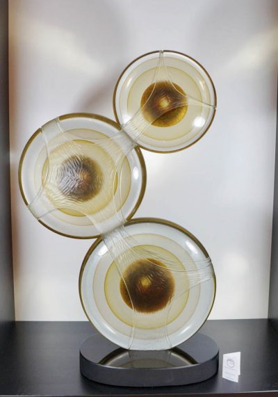 Murano Glass Three Discs Sculpture