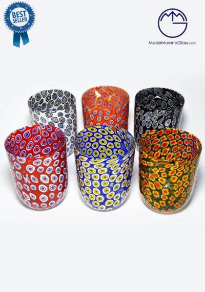 Set Of 6 Murano Drinking Glasses – Goto With Murrine – Venetian Glass