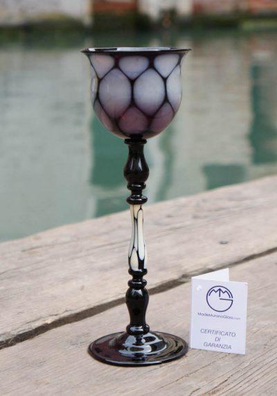 Venetian Glass Black Goblet – Murano Art Glass