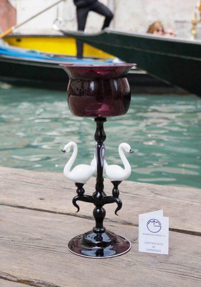 Exclusive Venetian Glass Black Goblet – Murano Glass