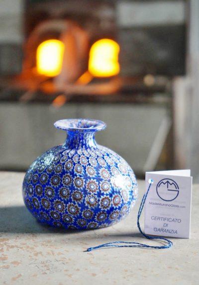 Onion-Shaped Murano Glass Vase With Murrina Millefiori