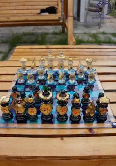Murano Glass Hexagonal Chessboard With Gold 32 Carats