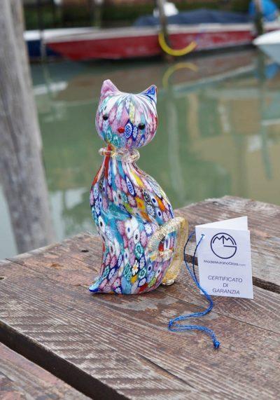 Murano Glass Animals – Big Cat With Murrina And Gold – Venetian Glass