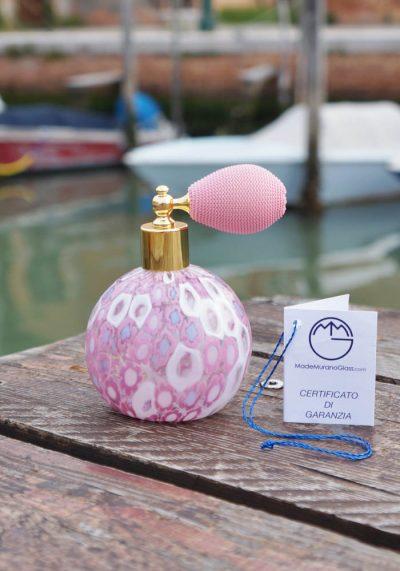 Bottiglia Porta Profumo Rosa In Vetro Murano Con Murrina – Vetro Artistico
