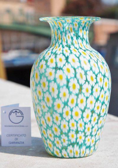 Murano Glass Vase – Flowers – With Murrina Millefiori