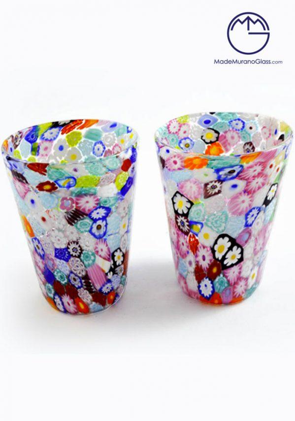 Set Di 2 Bicchieri Murano Vetro -GOTO Con Murrine- Vetro Artistico-