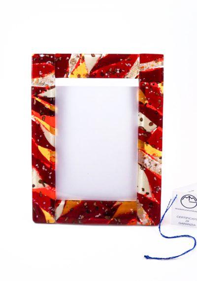 Cornice Porta Foto Rosso In Vetro Murano