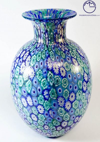 Oval Venetian Glass Vase With Murrina And Gold Leaf 24 Carats – Murano