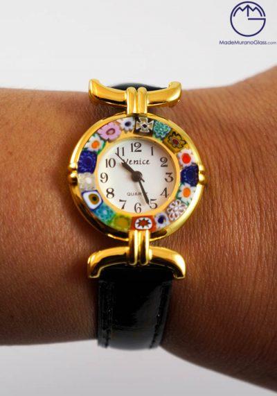 Elena – Murano Glass Wrist Watch With Murrina Millefiori