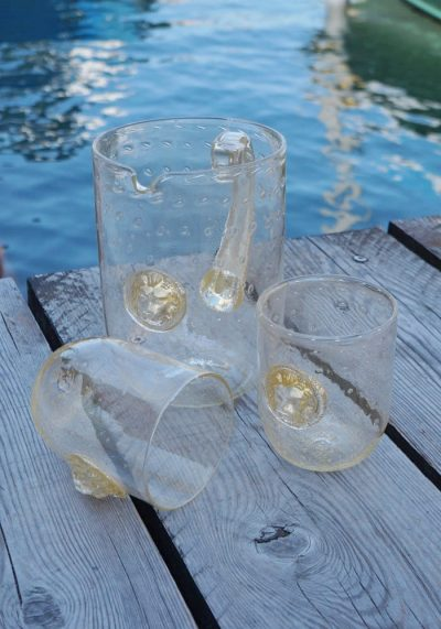 Set Of 2 Murano Drinking Glasses With Jug