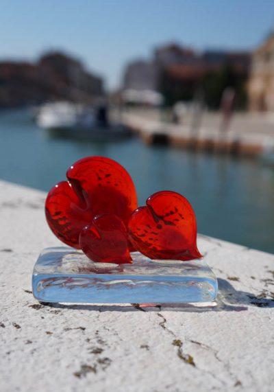 Tris Of Red Hearts In Murano Glass – Murano Art