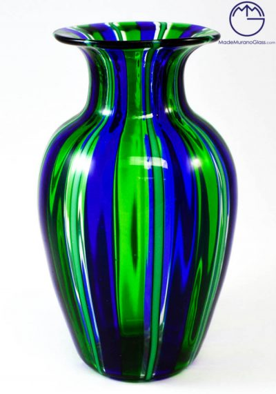 Venetian Glass Vase In Pipe Green And Blue