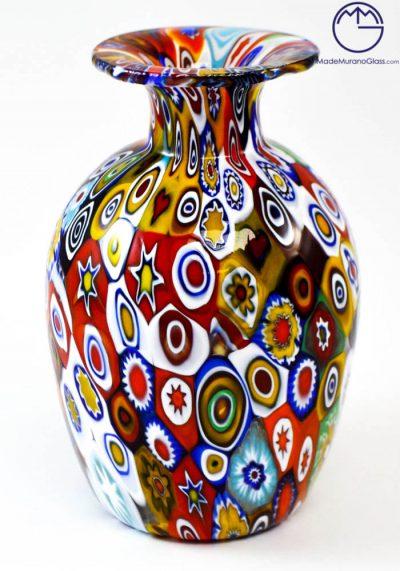 "Venetian Glass Vase ""MIGNON"" With Murrina Millefiori"
