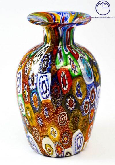 "Venetian Glass Vase ""MIGNON"" With Murrina Millefiori And Gold"