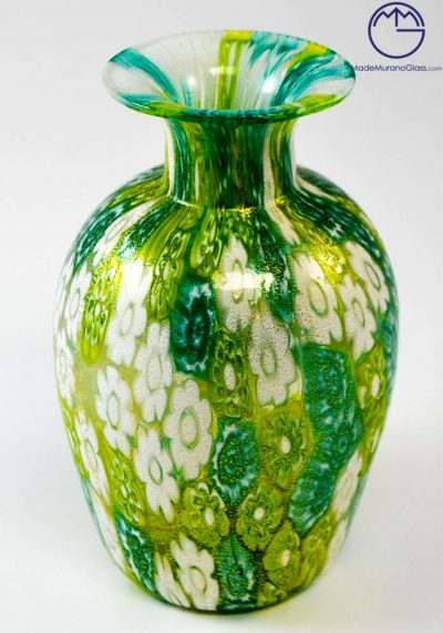 """Venetian Glass Vase """"MIGNON"""" With Murrina And Gold"""
