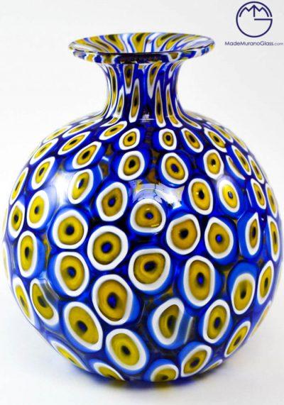 Venetian Glass Vase Mignon With Blue Murrina