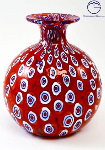 Venetian Glass Vase Mignon With Red Murrina