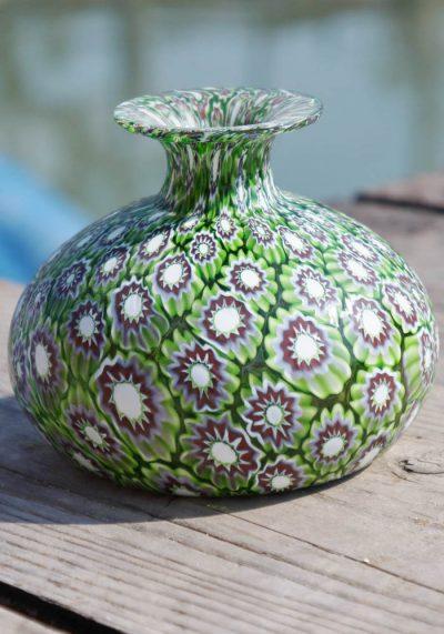 Venetian Glass Vase Onion-Shaped With Murrina