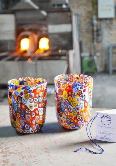 Set Of 2 Murano Drinking Glasses – Goto With Murrine Millefiori – Murano Glass