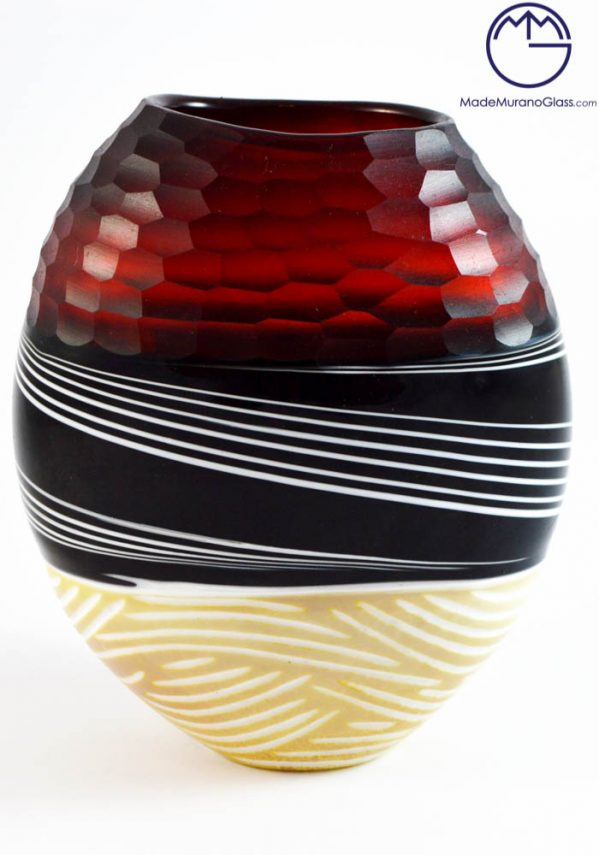 "Venetian Glass Vase ""AFRICAN"" Engraved - MURANO Glass - Murano Art -"