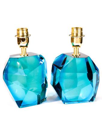 Rocce - Coppia Lampada Da Tavolo Acquamarina - Made Murano Glass