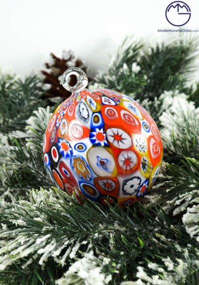 Damian – Christmas Ball In Venetian Blown Glass With Murrina Millefiori