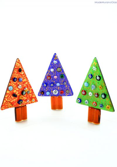 3 Christmas Trees With Murrina And Gold – Murano Glass Ornaments