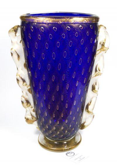 Monastero – Venetian Glass Vase Balloton Blue Gold – Made Murano Glass