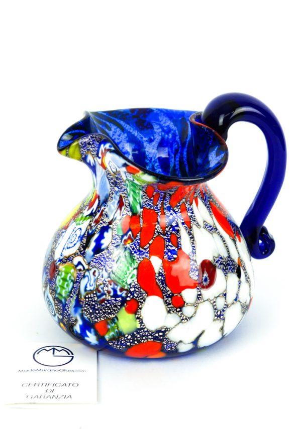 Brocca Fantasy Bassa Blu In Vetro Soffiato - Made Murano Glass