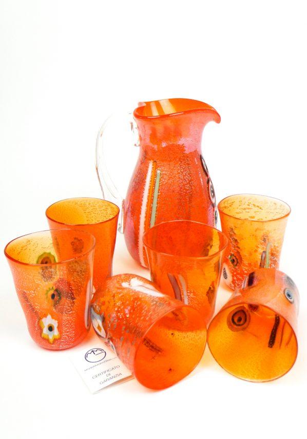 Lobio - Set Di 6 Bicchieri + Brocca Arancio In Vetro Murano