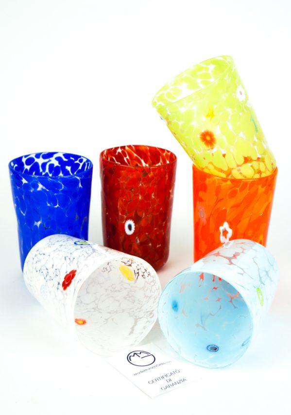 Multicolor - Set Di 6 Bicchieri Conici In Vetro Soffiato