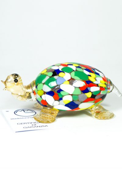 Murano Glass Animal Turtle With Mace Multicolor And Gold – Made Murano Glass