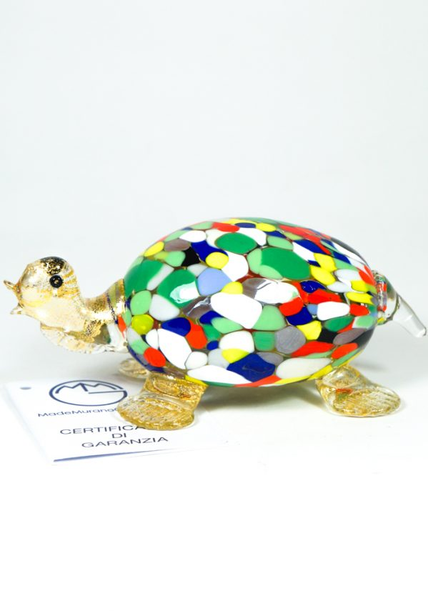 Tartaruga Vetro Murano Con Mace Multicolor