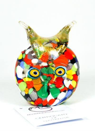 Murano Glass Animal Owl With Mace Multicolor And Gold – Made Murano Glass