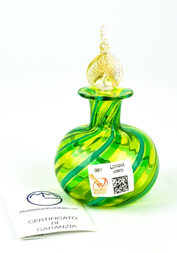 Bottiglietta In Canna Cipolla Verde - Made Murano Glass