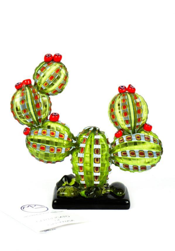 Ise - Pianta Cactus Murrina Millefiori Vetro Soffiato