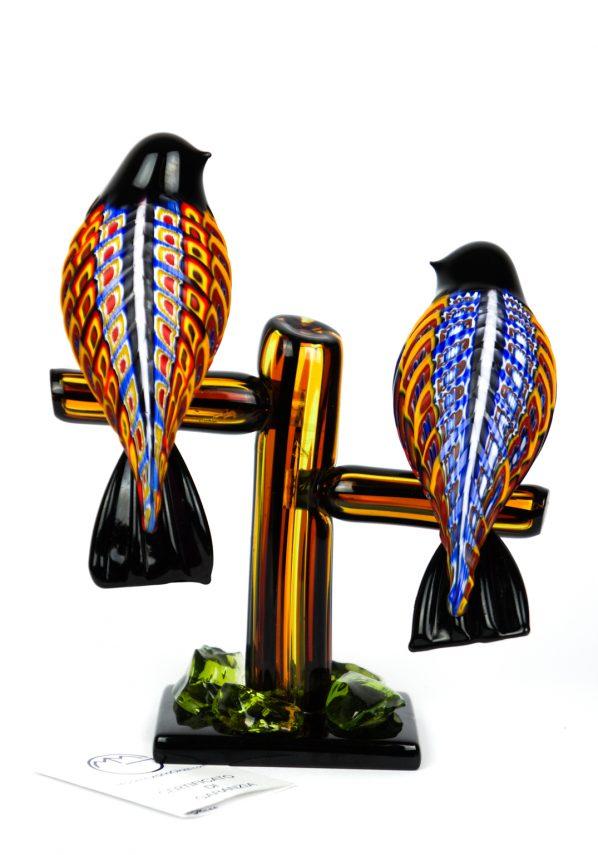 Scultura Coppia Uccelli - Millefiori Molato