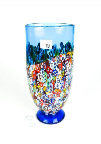 Lindo – Blown Vase Aquamarine And Murrina Millefiori